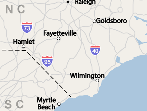 north carolina service area, including wilmington, fayetteville & jacksonville, nc